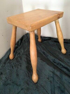 Mid Century Four Legged Pine Stool Seat