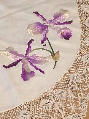 Antique Society LACE Round TABLECLOTH Topper BEAUTIFUL Embroidery ORCHIDS