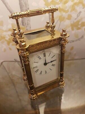 Antique French Carriage Clock Lovely Ornate  Brass Case