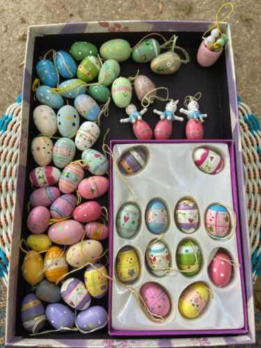 55 Vtg Wooden Hand Painted EASTER Eggs and Bunny Mini ORNAMENTS