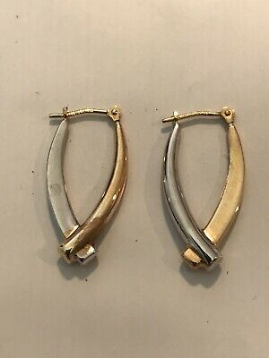 14k Yellow And White Gold Criss-Cross Earrings Pierced