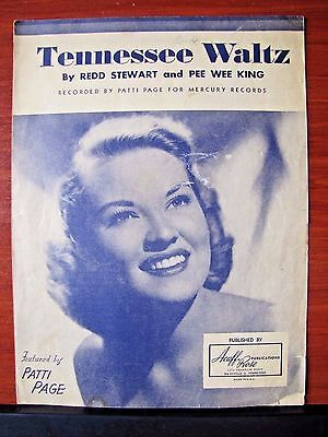 Tennessee Waltz - Patti Page- 1948 sheet music- Piano Vocal Guitar