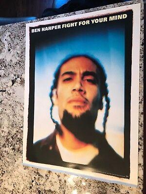 Ben Harper RARE PROMO Poster 24X18 Fight for your mind Promotional 1995 VIRGIN