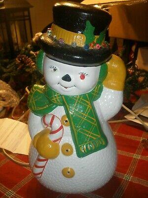 """Rare VTG Retro 70s Christmas Ceramic Mold Snowman Light Up Figurine 13"""" T"""
