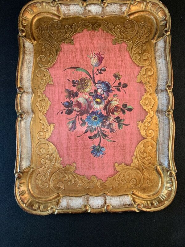 Vintage Hand Painted Italian Florentine Wood Dresser Tray Made in Italy Floral