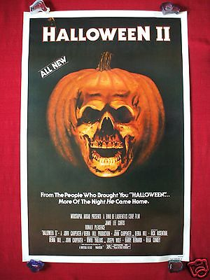 HALLOWEEN II 2 1981 ORIGINAL MOVIE POSTER 1SH RARE NSS ROLLED PUMPKIN SKULL MASK