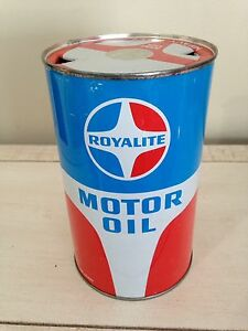 Royalite Imperial quart motor oil tin can gas pump sign