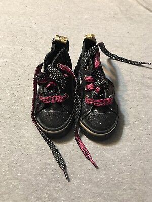 EUC Infant/Toddler Girls Toys R Us High Top Black/Cheetah Print Shoes, Size