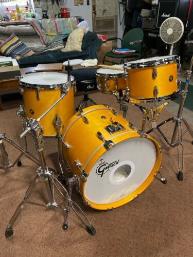 Gretsch USA Custom 4pc Drum Set Satin Sun Amber
