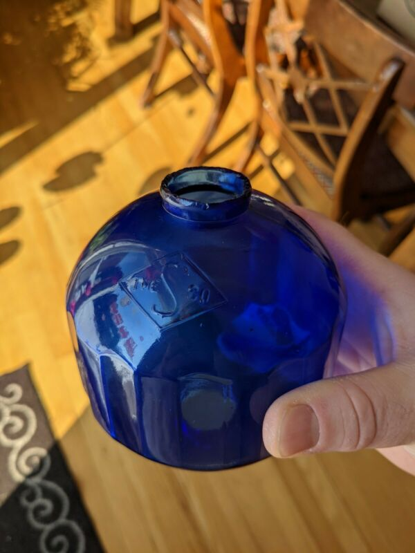 ***RARE*** Cobalt Blue the S Co. Glass Lightning Rod Ball Globe
