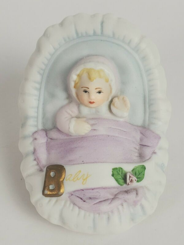 1983 Enesco Growing Up Birthday Girls Figurine BABY Blond Blue Eyes
