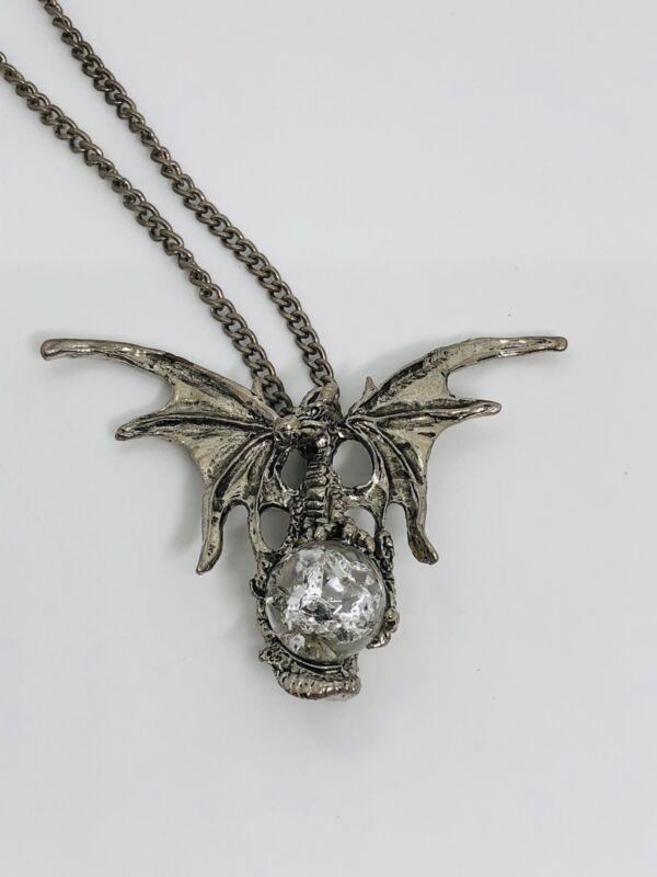 Dragon fantasy necklace crystal ball see description silvertone