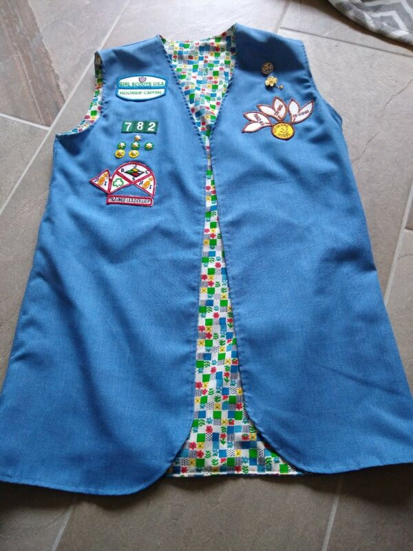 Vintage Girl Scout Leader Vest with pins and patches Handmade denim Women