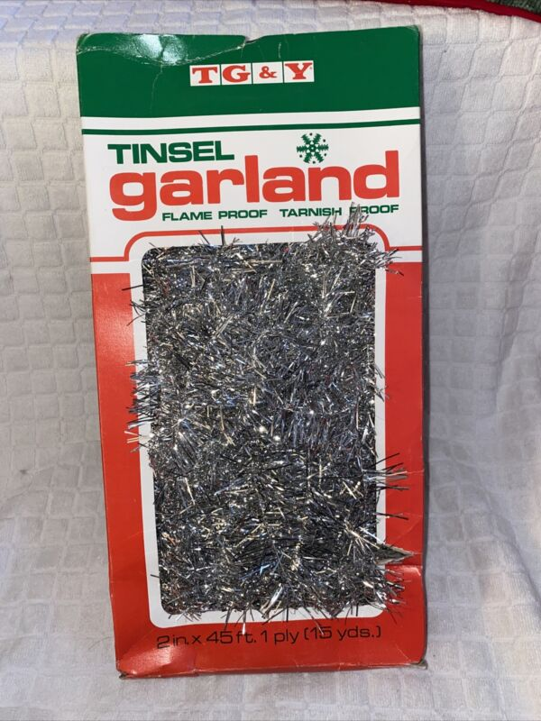 """Vintage TG&Y Silver Tinsel Garland Christmas Decoration 2""""x45"""" Flame Proof"""