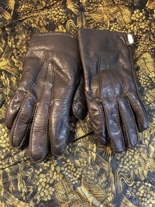 Brown Leather Rabbit Fur Lined Gloves Men