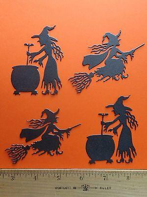4 Halloween Witch Die Cuts Black Metallic Cardstock