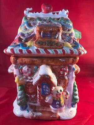 Ceramic Christmas Gingerbread House Cookie Jar Unbranded Multi-Color 11 1/2