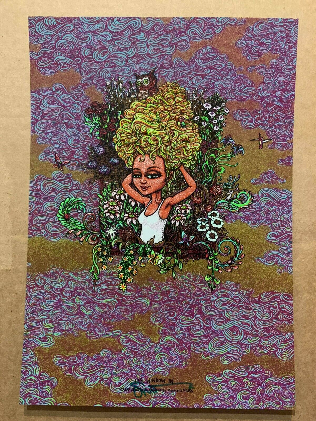SIGNED Marq Spusta Her Window In Art print poster shimmer dark blue gold limited
