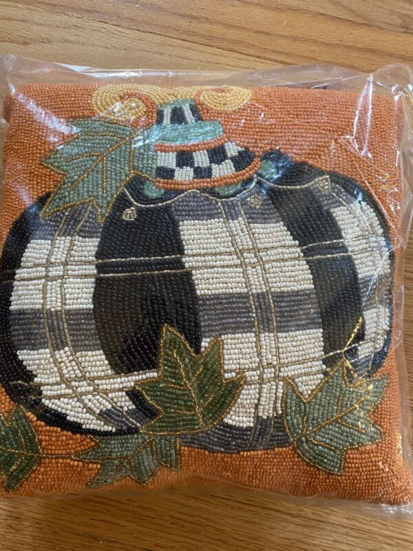 """MACKENZIE CHILDS NWT BEADED TARTAN SPICE FALL PILLOW 12"""" X 12"""" NEW IN PACKAGE"""
