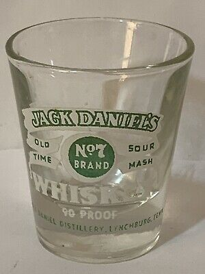 Vintage Jack Daniels Old Time Sour Mash Tennessee Whiskey Shot Glass Green Label for sale  Memphis
