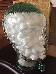 Clear 3-D glass head for home decor, styling wigs