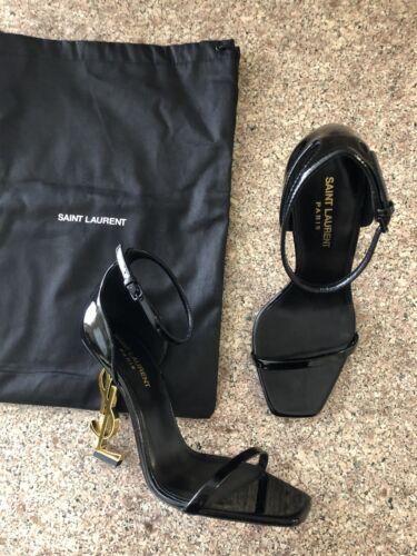 New Saint Laurent Opyum Ankle Strap YSL Sandals Black Patent Leather Size 38.5
