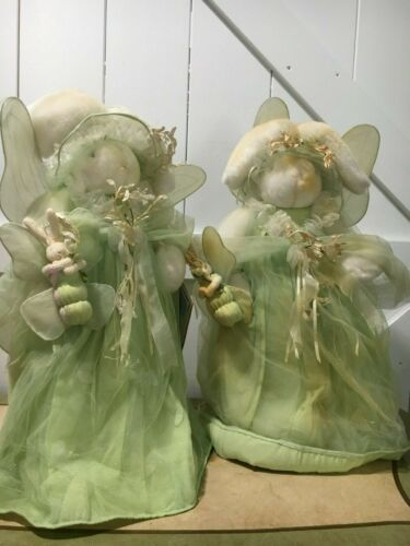 """BUNNIES BY THE BAY 2 FLUTTER GODMOTHERS 20""""H GREEN, FLITTER FLY & STANDS"""