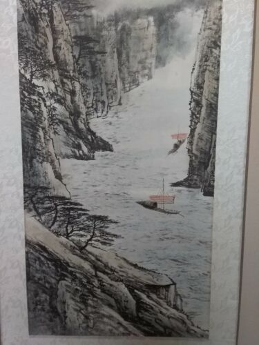 Japanese Original Signed Asian Silk Scroll Landscape Painting Mountains & Boats
