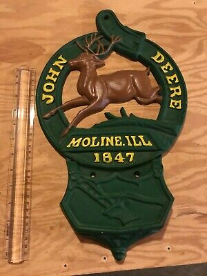 Vintage John Deere Cast Iron Wall Plaque with Letter Mail Slot Pocket Moline ILL