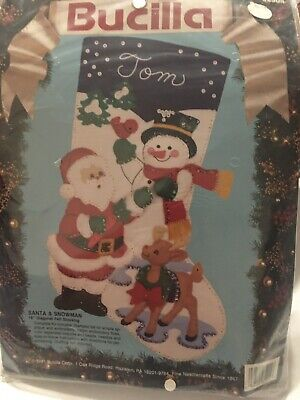 "Christmas Stocking Kit (Bucilla ""Santa & Snowman"" Felt Applique Christmas Stocking Kit Reindeer)"