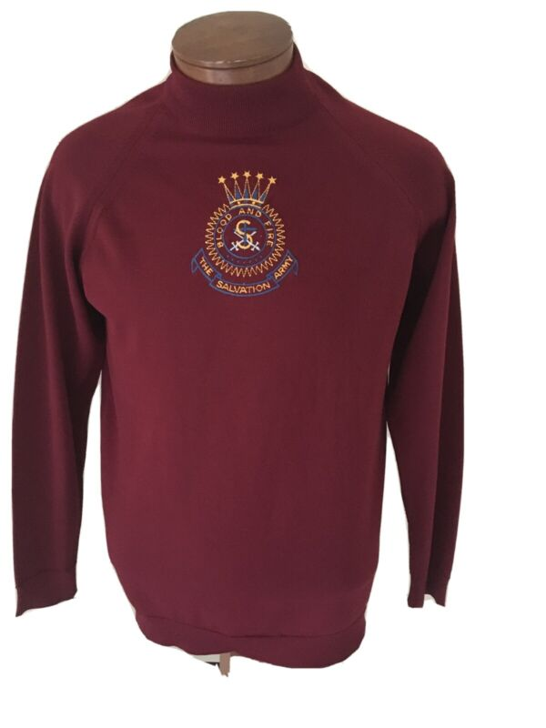 Vintage Salvation Army Crest Sweater EUC Size Large Polyester Embroidered Poland