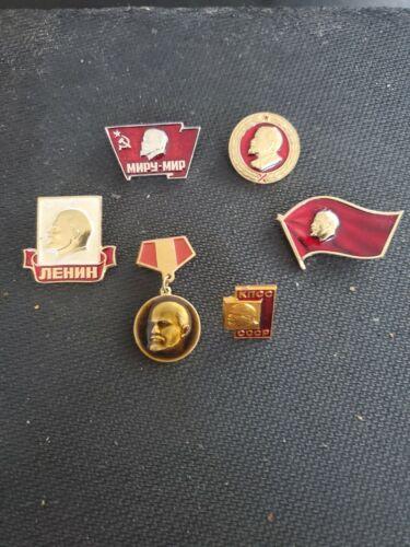 Lot of 6 Vintage Soviet Russian USSR Communist V. Lenin Pins.