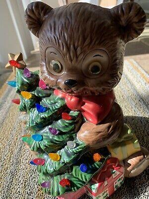 "Vintage Ceramic Mold Christmas Bear With Light Up Christmas Tree 8"""