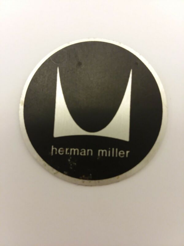 Vintage Herman Miller 1960s Original Black Tag Label Medallion Badge Eames Era