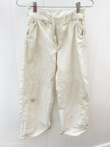 "VTG1930s Boys Pants White Cotton Button Fly Antique 24X23.5""  Cuffed Work Pants"