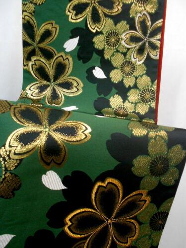 "Japanese Kimono SILK Fukuro OBI, Rokutu ,Gold, SAKURA, fits Furisode.L174"".1841"