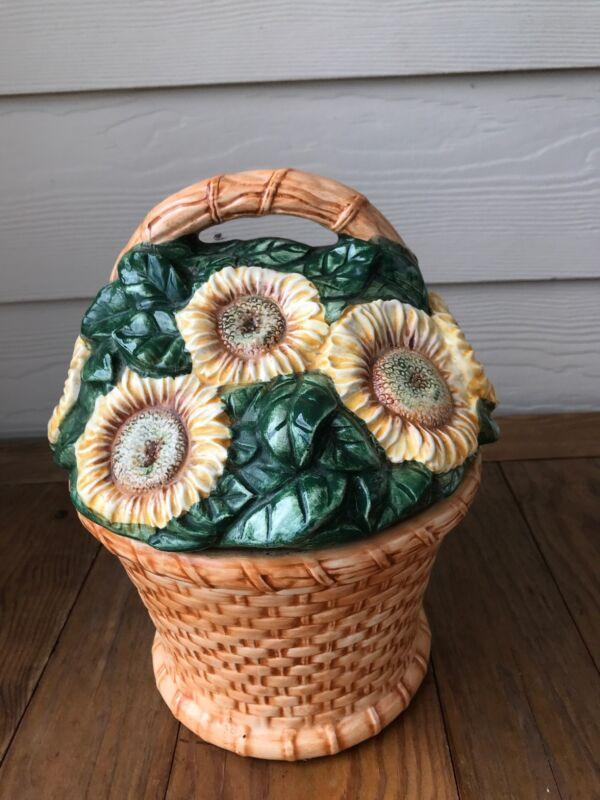Cooks Club Sunflower Basket Large Cookie Jar