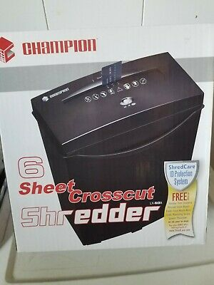 Champion Px60b Crosscut Paper Shredder 6 Sheet Capacity Black New In Box