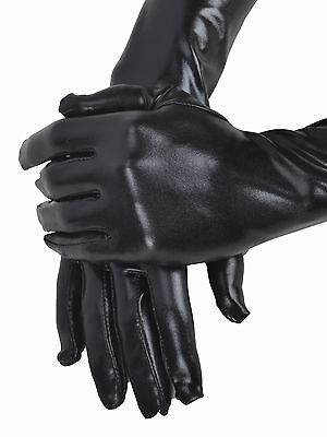 Gothic Gloves (Sexy Women  Black Shiny Wet Look Faux Leather Long Gloves Taste)