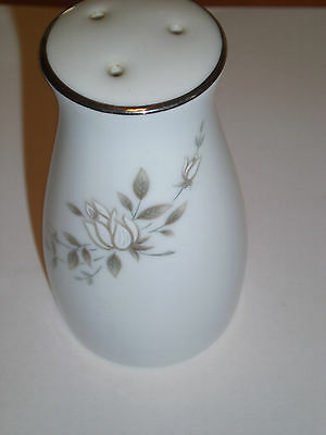 Noritake Pepper Shaker White silver trim, White Fowers & Leaves Roses?