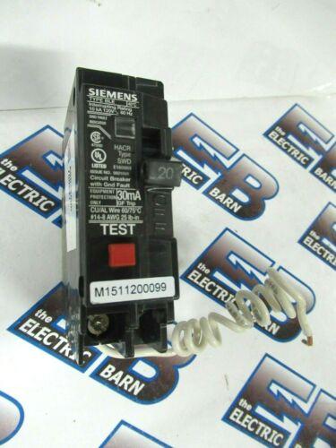 Siemens BE120, 20 Amp, 120 Volt, 1P Equipment Ground Fault Circuit Breaker- NEW