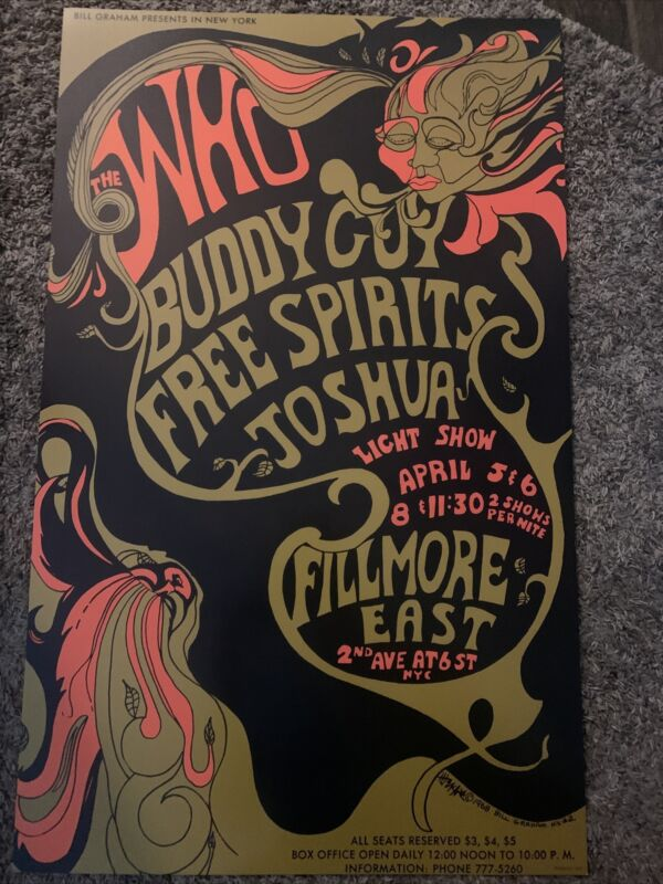 The Who Buddy Guy Fillmore East 1968 Concert Poster