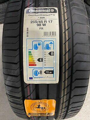 2 New 255 45 17 Continental ContiSportContact 5 SSR Run Flat Tires