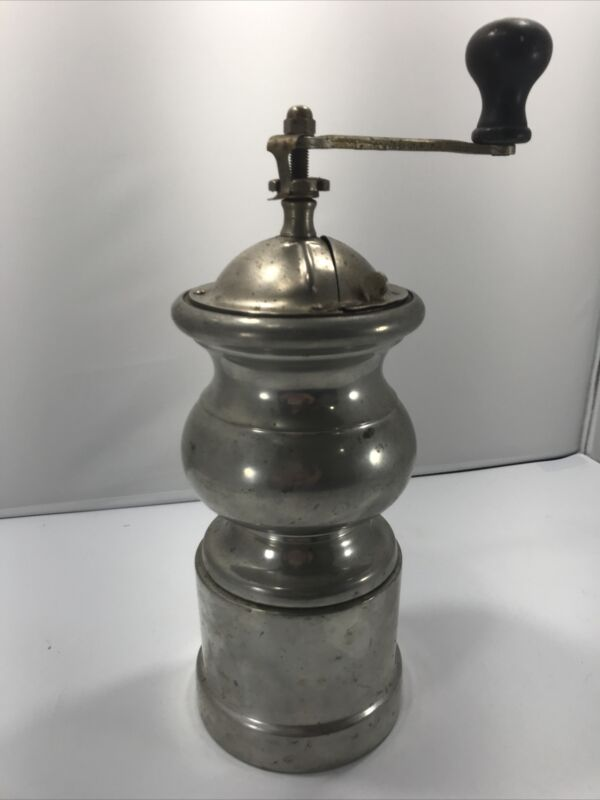 """ANTIQUE/Vintage COFFEE GRINDER. """"TRESPADE"""" Made in Italy. NICE! Pewter?"""