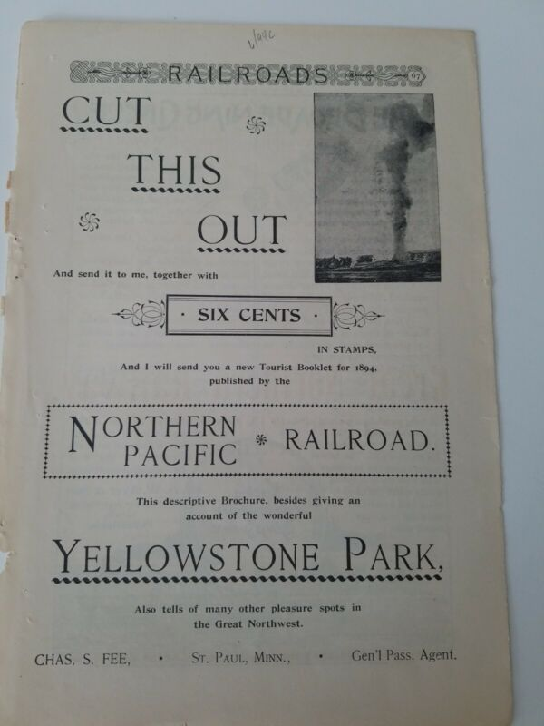 1894 the Northern Pacific railroad Railway Yellowstone Park vintage original ad