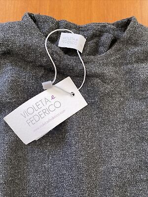 Violeta E Federico NWT Charcoal Viscose Knit Open Back Top-18 Mos