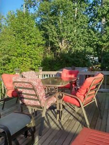 Used 7 piece deck furniture set for sale.