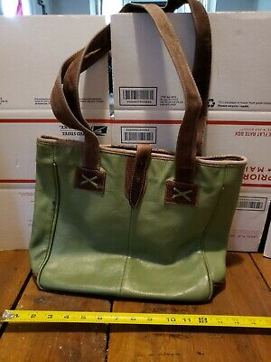 CLAVA American Large Green Colombian Leather Oversized Tote Bag Shopper -