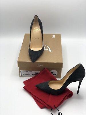 NIB Christian Louboutin So Kate 120 Storm Grey Suede Classic Heel Pump Shoe 35.5