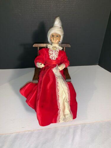 Apple Head Christmas Granny Doll In Rocker, Red Velvet Dress,Trim Off-White Lace